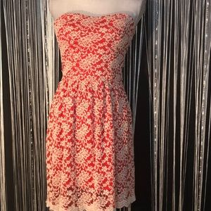 Dina Be Strapless Red Lace Aline Cocktail Dress